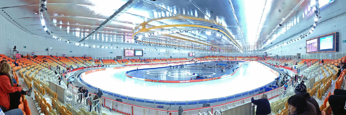 Inside of the Adler Arena, the speed skating stadium. 5 easy tips to make the most out Olympic travel. I share my Olympic experience and give tips for your Olympic travel to Pyeongchang2018.