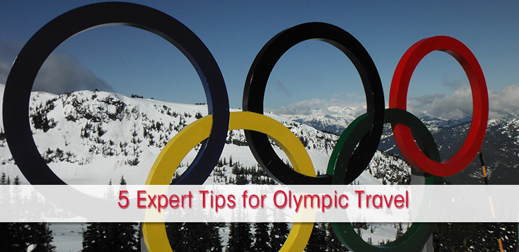 Olympic rings at winter setting, text overlay with expert tips for Olympic travel