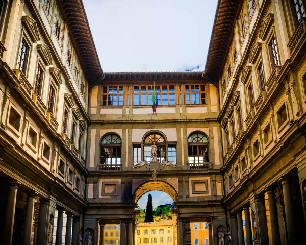 The Uffizi museum in Florence is a splendid building on its own with great architecture and design.