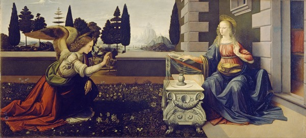The painting: the annunciation by Leonardo da Vinci at the Uffizi museum in Florence