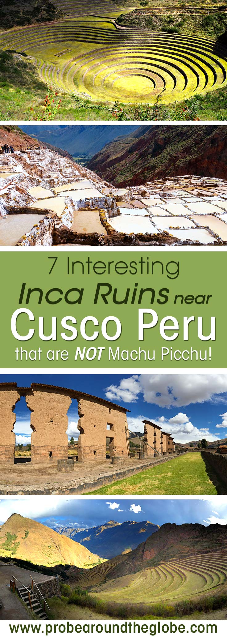The most famous Inca ruins near Cusco Peru are Machu Picchu. What are the other Inca ruins in Cusco to see? Read my list of 7 interesting Cusco Inca ruins to explore in the Sacred Valley. I explain about Sacsaywamen and Ollantaytambo, but also Cinchero, Maras and Moray and not forget Pisac and Raqchi.