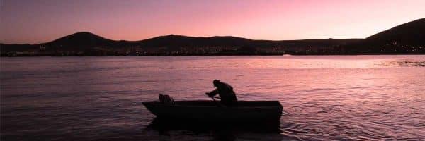 Sun set at Lake Titicaca in Peru