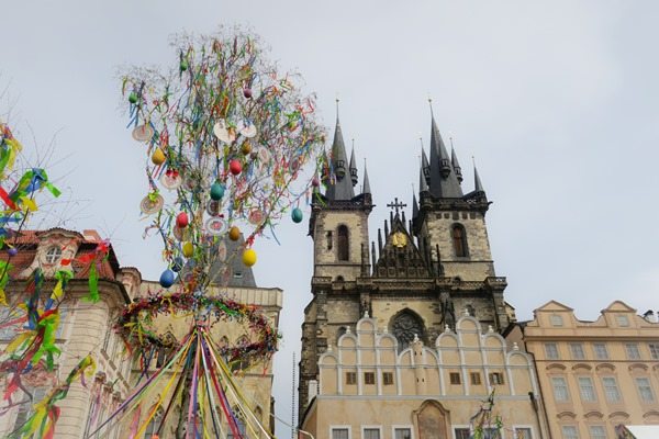 Prague Old Town Square with Prague Easter Market decorations