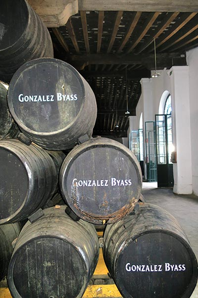 Sherry Wine barrels in Jerez de la Frontera Spain showing the Gonzalez Byass Sherry during a Sherry Tour in Jerez