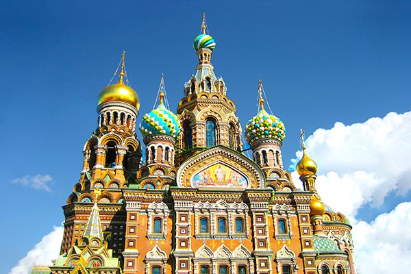 Savior on Blood Cathedral in St. Petersburg Russia. One of the things to see in St. Petersburg when you travel by train from St. Petersburg to Moscow.